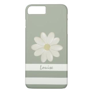 Las rayas de la flor de la margarita funda iPhone 7 plus