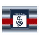 las rayas de la marina de guerra, ancla, boda tarjeta postal