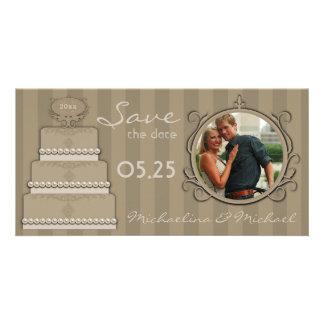 Las rayas de la moca ahorran la tarjeta de la foto tarjeta fotográfica personalizada