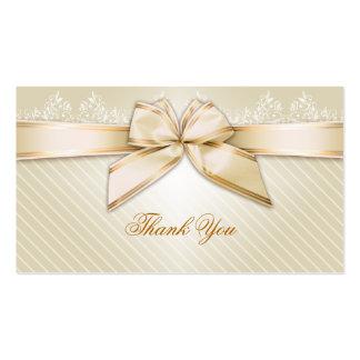 Las rayas de marfil del oro de la cinta le agradec tarjetas de negocios