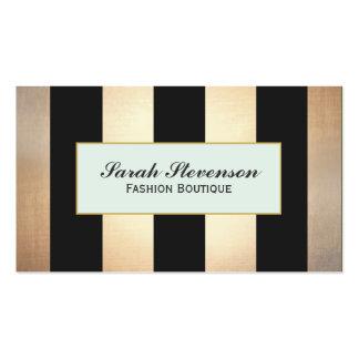 Las rayas elegantes del negro y del oro no forman plantillas de tarjetas personales