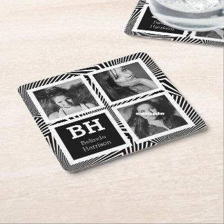 Las rayas enrrolladas de BW personalizaron 3 fotos Posavasos Desechable Cuadrado
