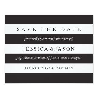 Las rayas intrépidas ahorran la fecha invitación 10,8 x 13,9 cm