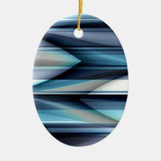 Las rayas modelan azul claro creado por Tutti Adorno Navideño Ovalado De Cerámica