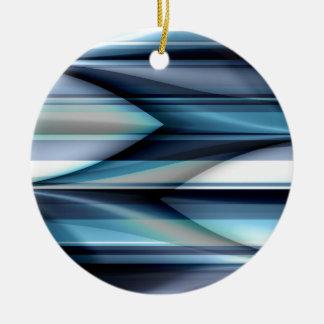 Las rayas modelan azul claro creado por Tutti Adorno Navideño Redondo De Cerámica