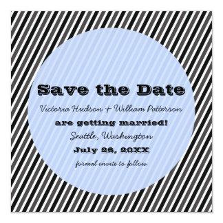 Las rayas modernas ahorran la fecha invitan, azul invitación 13,3 cm x 13,3cm