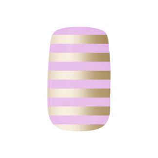 Las rayas modernas de la hoja de oro se ruborizan stickers para manicura