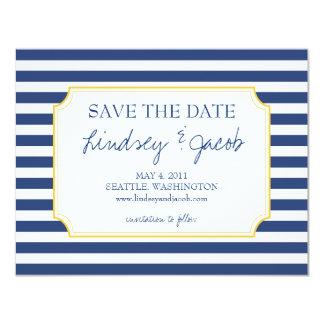Las rayas náuticas ahorran la fecha invitación personalizada