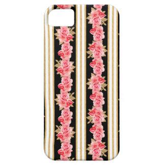 Las rayas negras blancas de los ramos del oro del funda para iPhone SE/5/5s
