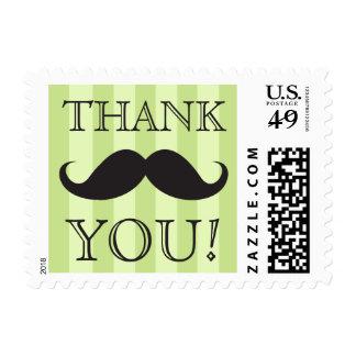 Las rayas negras del verde del bigote le agradecen timbres postales
