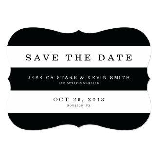 Las rayas negras elegantes ahorran la fecha comunicado personalizado