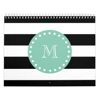 Las rayas negras modelan monograma de la verde me calendarios