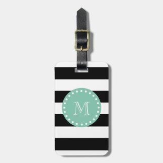 Las rayas negras modelan, monograma de la verde me etiquetas maleta