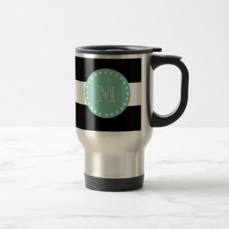 Las rayas negras modelan, monograma de la verde taza térmica