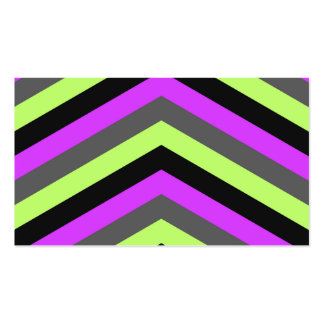 Las rayas negras verdes rosadas de neón del zigzag tarjetas de visita