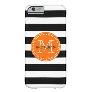 Las rayas negras y blancas elegantes funda de iPhone 6 barely there