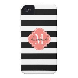 Las rayas negras y blancas elegantes funda para iPhone 4