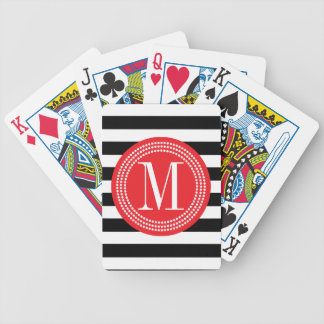 Las rayas negras y blancas elegantes personalizaro baraja cartas de poker