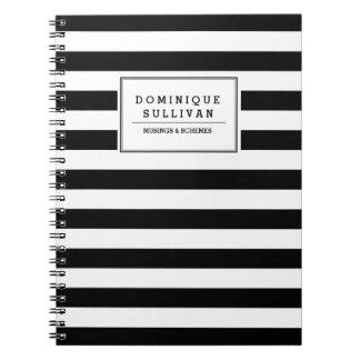 Las rayas negras y blancas personalizaron el cuade libretas