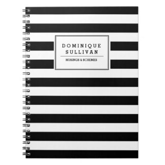 Las rayas negras y blancas personalizaron el libretas