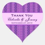 Las rayas púrpuras le agradecen el corazón B458 de Calcomania Corazon Personalizadas
