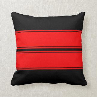 Las rayas rojas negras de la raza añaden la cojines