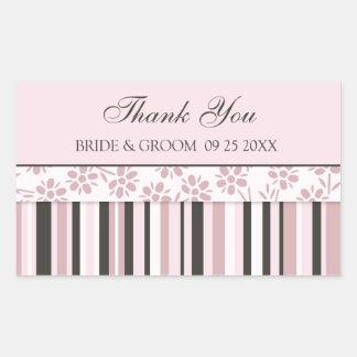 Las rayas rosadas le agradecen las etiquetas del pegatina rectangular
