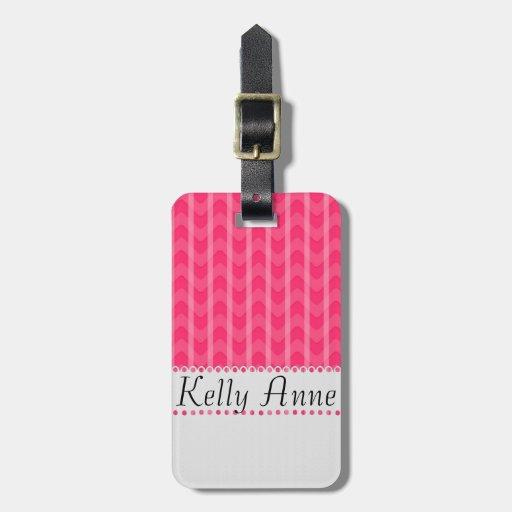 Las rayas rosadas únicas lindas zigzaguean monogra etiqueta para maleta