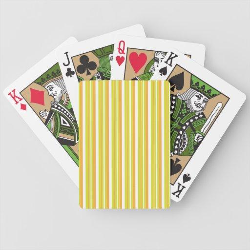 Las rayas se ponen verde, naranja, zingy blanco, f baraja de cartas bicycle
