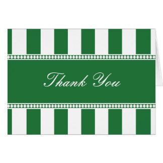 Las rayas verdes y blancas del trébol del café le tarjeta pequeña