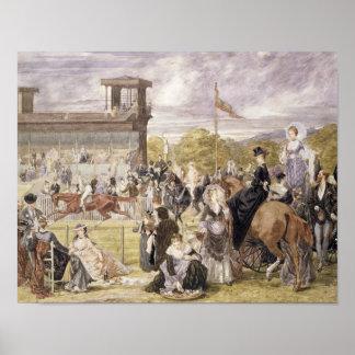 Las razas en Longchamp en 1874 Póster