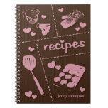Las recetas lindas del artículos de cocina persona libro de apuntes