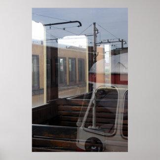 Las reflexiones de Windows del vintage entrenan a Póster