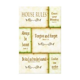 Las reglas de la casa envolvieron la lona impresiones en lienzo estiradas