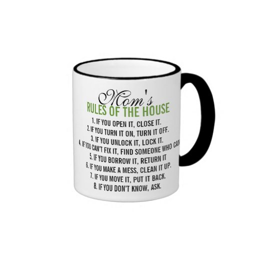 Las reglas de la mamá de la casa taza de café