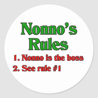 Las reglas de Nonno (abuelo italiano) Pegatina Redonda