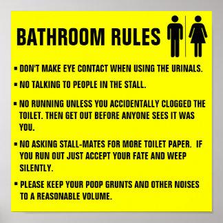 Las reglas del cuarto de baño no hacen el contacto impresiones