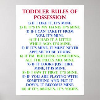 Las reglas del niño de muestra divertida del póster
