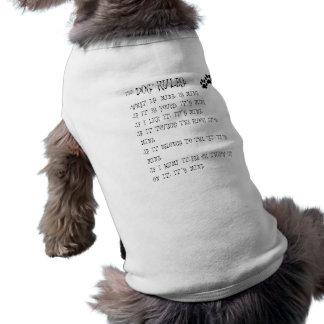 las reglas del perro playera sin mangas para perro