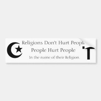 Las religiones no dañan a gente pegatina para auto
