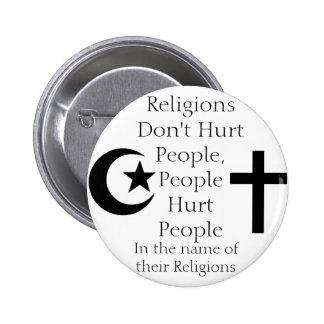 Las religiones no dañan a gente pin redondo de 2 pulgadas