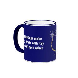 Las reuniones me hacen (2) clínicamente muerto taza de dos colores