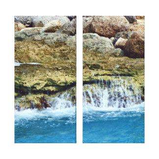 Las rocas lavadas mar envolvieron la lona impresión en lona