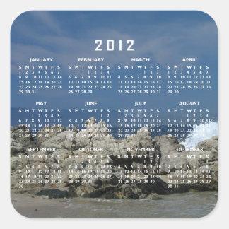 Las rocas y salpican; Calendario 2012 Pegatina Cuadrada
