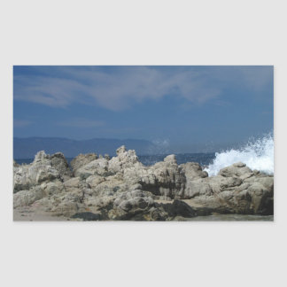 Las rocas y salpican; Ningún texto Pegatina Rectangular