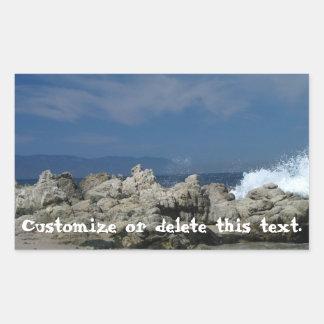Las rocas y salpican; Personalizable Pegatina Rectangular