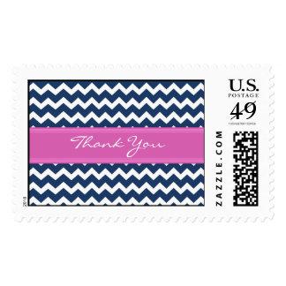 Las rosas fuertes azules Chevron le agradecen los Sello Postal