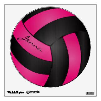 Las rosas fuertes y el negro personalizan voleibol vinilo decorativo