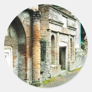 Las ruinas de Pompeya - mercado con los templos Pegatina Redonda