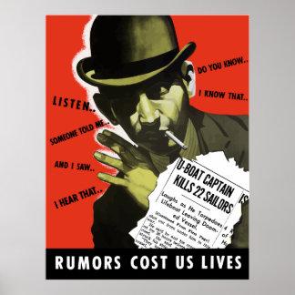 Las rumores nos costaron vidas -- WW2 Poster